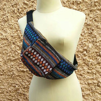 Fanny pack festival tribal Boho bum bag Ethnic Styles belt belly Pouch Travel phanny waist bags Ikat Hippies Gypsy Bohemian beach Blue Men
