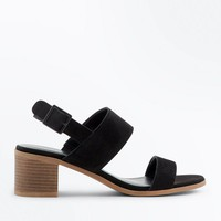 Black Suede Low Block Heel Sandals | New Look