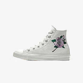The Converse Custom Chuck Taylor All Star Rose Embroidery High Top Shoe.