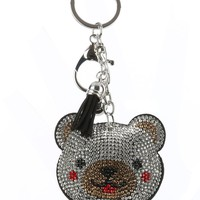 Black Stuffed Pillow Teddy Bear Bag Accessory Key Chain