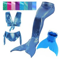 4Pcs/Set The Little Mermaid Tails with Monofin Swimmable Tail Mermaid Tail Costume Swimsuit for Children Kids Girls Swimmming
