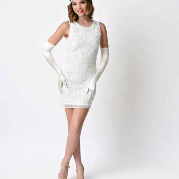 Vintage 1920s White Deco Beaded Fitted Short Flapper Dress