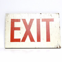 Vintage Shabby Industrial Wooden Exit Sign, Man-Cave