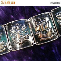 ON SALE Vintage Aluminum Wide Collectible Bracelet, Mid Century 1940's 1950's Germany Coat Of Arms Ship Jewelry