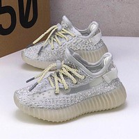 adidas Yeezy Boost 350 V2 White Reflective Toddler Kid Running Shoes Child Low Top Sneakers