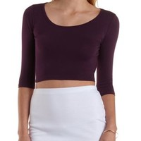 Plum Three-Quarter Sleeve Open Back Crop Top by Charlotte Russe
