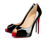 Sale Christian Louboutin Cl New Very Prive Black/red Patent Leather 120mm Stiletto Heel Classic