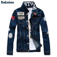 Trendy Sokotoo Men's slim English flag patch design rivet jean jacket Casual dark blue washed denim coat Outerwear AT_94_13