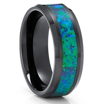 Opal Tungsten Wedding Rings - Green Opal Ring - Black Tungsten Ring - 8mm Ring