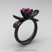 14K Matte Black Gold 1.0 Ct Pink Sapphire Diamond Nature Inspired Engagement Ring Wedding Ring R671-14KMBGDPS