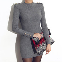 Gray Epaulet Embellished Knitted Bodycon Dress