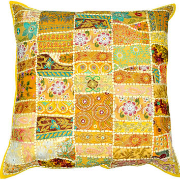24X24 XL yellow Yoga Decorative patchwork Throw pillow, Indian ethnic couch pillow Meditation Cushion, Outdoor Cottage Pillow, Tribal Pillow