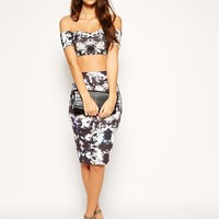ASOS PETITE Exclusive Co-ord Cropped Bardot Top In Mirror Floral Print