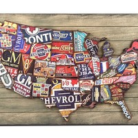 Faux Wood Plank Sign with Raised GM U.S. Map | Shop Hobby Lobby