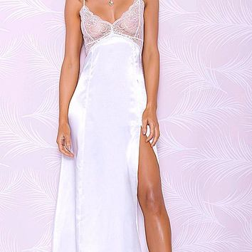 Bridal White Satin Charmeuse and Lace Nightgown w/Side Slit