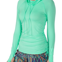 Cowl Neck Pullover With Thumb Hole Sleeves - Splash