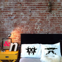Rorschach Test (1+2) Pillowcase Set in black, Wedding Gift, His and Hers Pillows, Couples Pillowcases, Pillow Talk