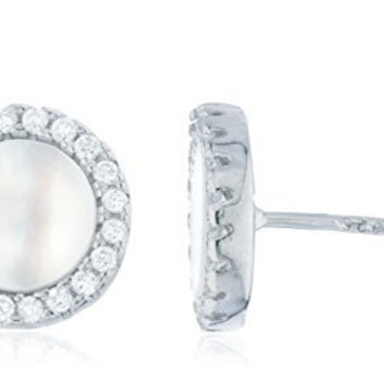 925 Sterling Silver 9.5mm Simulated Mother of Pearl with Stones Stud Earrings