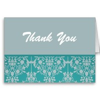 Pretty Blue Damask Thank You Cards