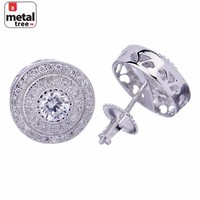 Jewelry Kay style Men's Hip Hop 925 Silver 3 Layers Stone 0.25Ct Round  Screw Back Stud Earrings