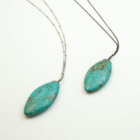 FIERCE TURQUOISE Stone Pendant on Simple Long Necklace // Long Turquoise Necklace // Antique Bronze or Silver Chain
