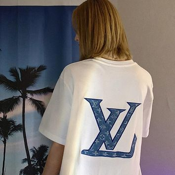 Louis Vuitton LV New Women's Letter Embroidered Short Sleeve T-Shirt