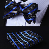 BS601BS Blue Black Striped Silk Self Bow Tie handkerchief set