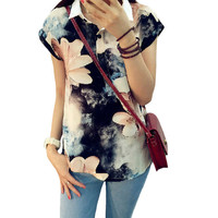 Summer New Style Women T Shirt  Fashion Turndown Collar Floral Printing T-shirt Short Sleeve Women Casual T Shirts 31656 SM6