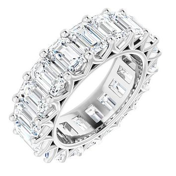 Cubic Zirconia Ring- *Clearance* Cubic Zirconia Anniversary Ring Band, Style S12-3391 (Emerald Eternity) in Platinum