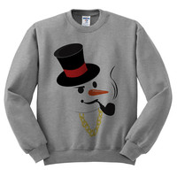Grey Crewneck Gangster Snowman Ugly Christmas Sweatshirt Sweater Jumper Pullover