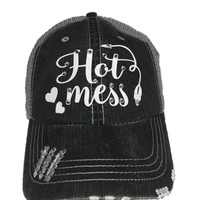 Hot Mess Glitter Font Hat with Swarovski Crystals