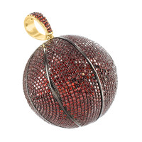 Basketball Pendant Red Lab Diamond Round In Gold Finish