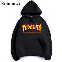 Eqmpowy  thrasher Hoodies men Hip Hop Flame trasher Sportswear hoody Sweatshirt Solid Skateboard Pullover Hoodie Man clothes