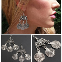 Bohemian Curved Top Silver Coin Earrings Beach Ethnic Tribal Jewelry Gypsy