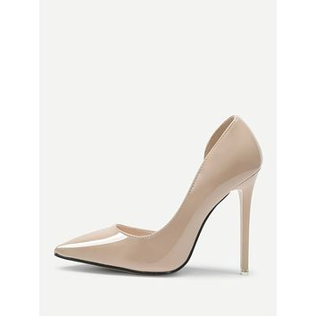 Pointed Toe PU Court Pumps