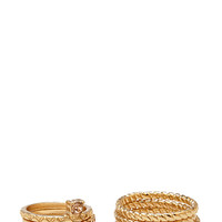 FOREVER 21 Rhinestoned Ring Set Gold/Clear