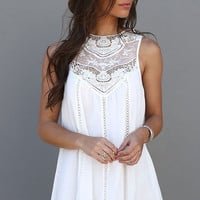 White Floral Lace Embroidered Sleeveless Mesh Mini Dress