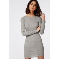 Missguided - Long Sleeve Ribbed Bodycon Dress Grey