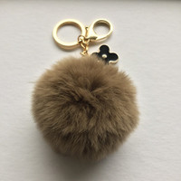 Brown fur pom pom keychain REX Rabbit fur pom pom ball with flower bag charm