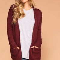Warm And Fuzzy Burgundy Cardigan