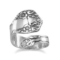 Antiqued Style Sterling Silver Floral Spoon Ring