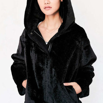 Silence + Noise Faux Fur Hooded Bomber Jacket - Urban Outfitters