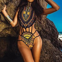 African Sexy One-piece Suits New Bikini Bandage Swimsuit Female Monokini Print Swimwear High Cut Bathing Suit