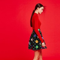 Don't Hug Me I'm Scared for Lazy Oaf Don't Hug Me Grid Skirt - DHMIS for Lazy Oaf - Collections - Womens