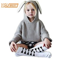 Infant Sweater Kids Clothing New 2016 Children Sweaters Rabbit Ears Boys Girls Sweater with Hooded Wool Cotton Knitwear Winter