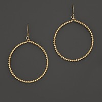 Mizuki 14K Yellow Gold Faceted Bead Large Hoop Earrings