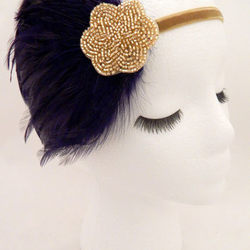 The Lucille - navy blue gold fascinator, navy Gatsby headpiece, blue 1920s headband, navy blue feather 1920 hair accessory, women's headband
