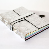 Leather journal, rainbow pages, travel journal, travel notebook, leather diary sketchbook, leather notebook, blank book, hand bound silver