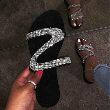 2021 Bling Bling Female Slipper Slides Women Mules Shoes Women Flip