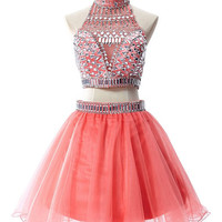 Two-pieces Sparkling Beading Homecoming Dress Prom dress